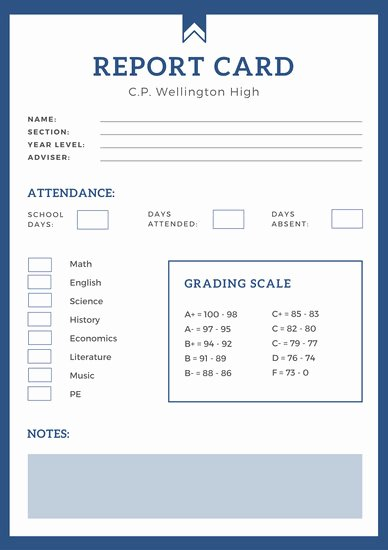 Simple Report Card Template Lovely Blue Simple High School Report Card Templates by Canva