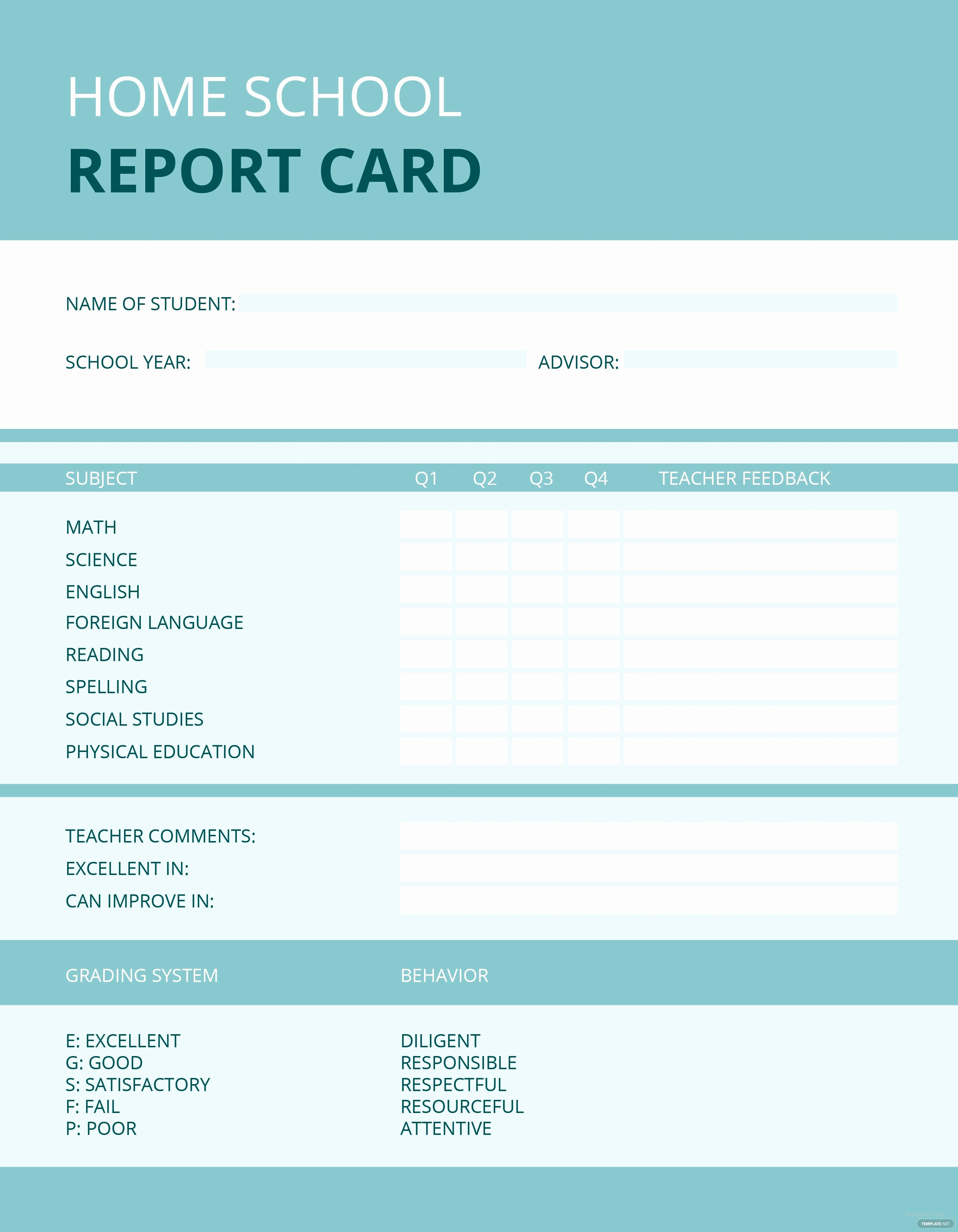 Simple Report Card Template Lovely Free Home School Report Card Template In Microsoft Word