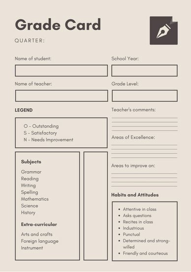 Simple Report Card Template Lovely Gray Simple Homeschool Report Card Templates by Canva