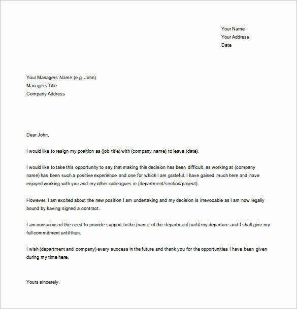 Simple Resignation Letter Templates Best Of 12 Simple Resignation Letter Templates Pdf Doc