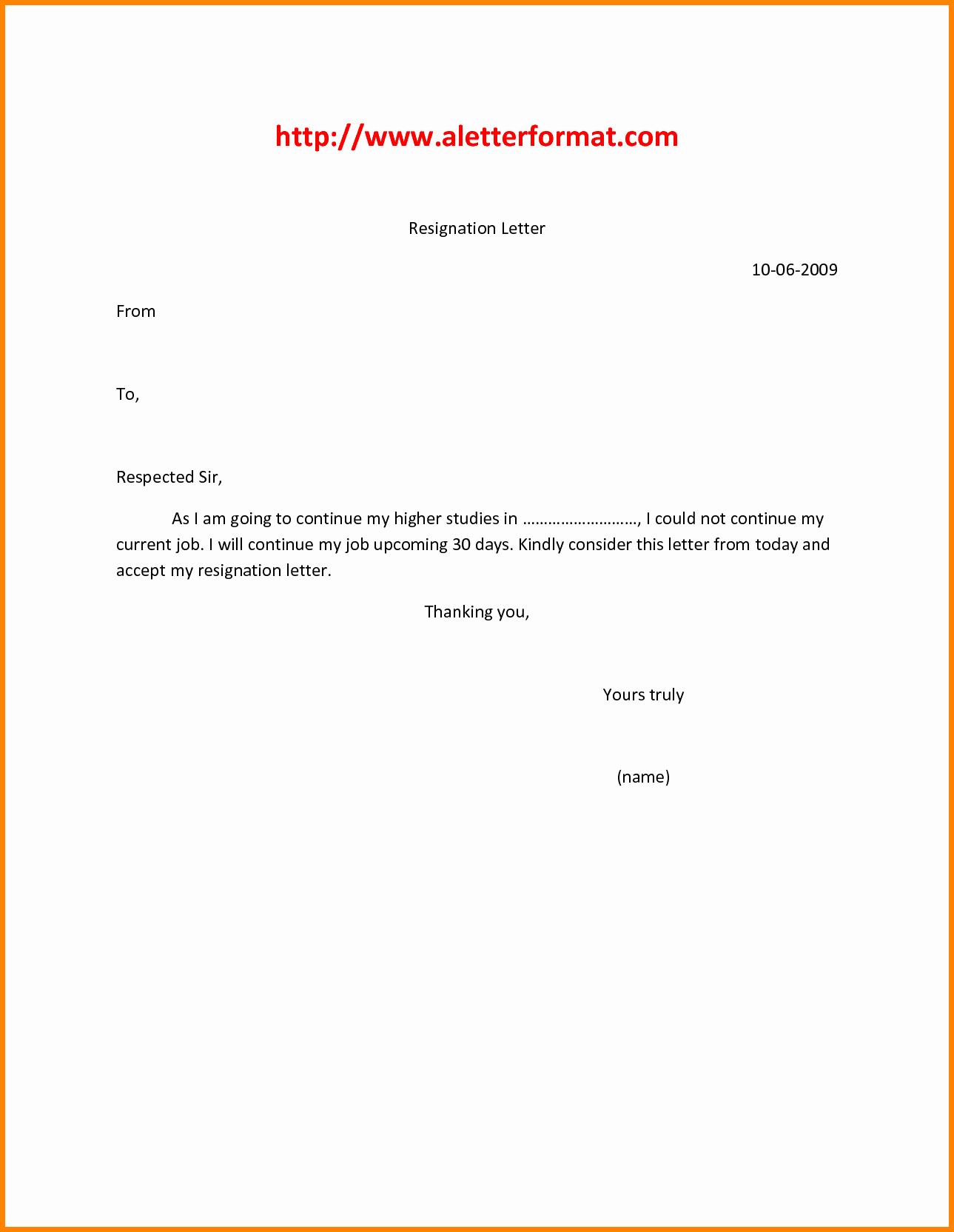 Simple Resignation Letter Templates Elegant 9 Easy Resignation Letter Template