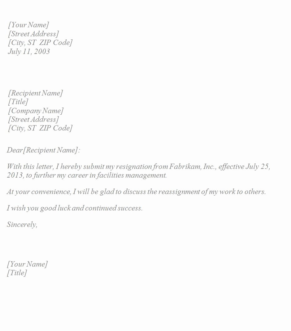 Simple Resignation Letter Templates Elegant Basic Resignation Letter Template Sample