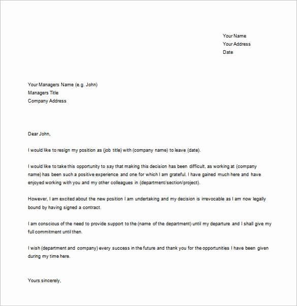 Simple Resignation Letter Templates Elegant Simple Resignation Letter