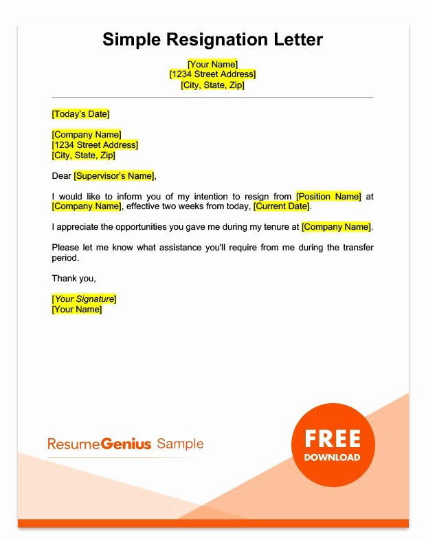 Simple Resignation Letter Templates Inspirational Two Weeks Notice Letter Sample Free Download
