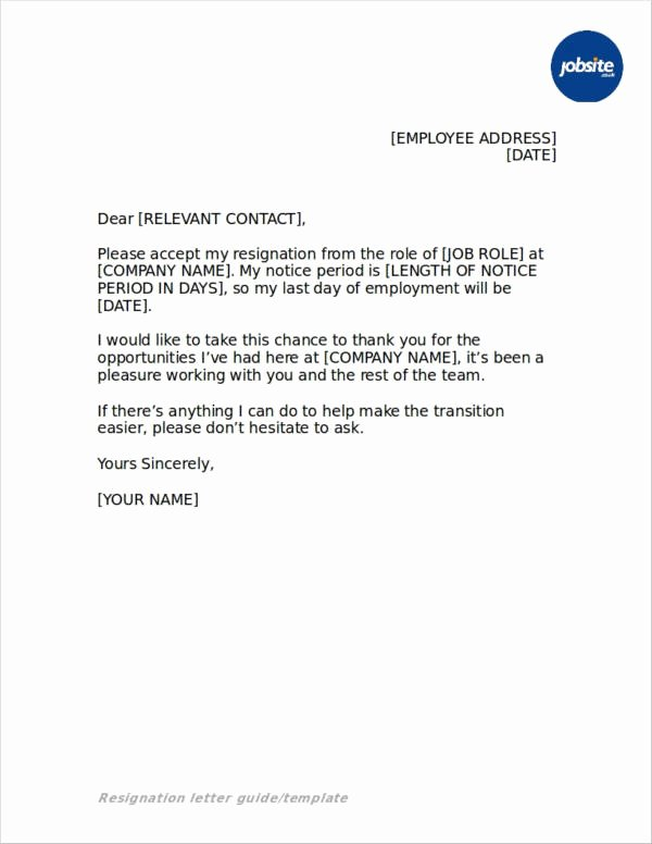 Simple Resignation Letter Templates Luxury Free 45 Resignation Letters In Doc