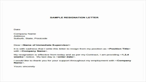 Simple Resignation Letter Templates Luxury Get Best Resignation Letter Sample with Rreason