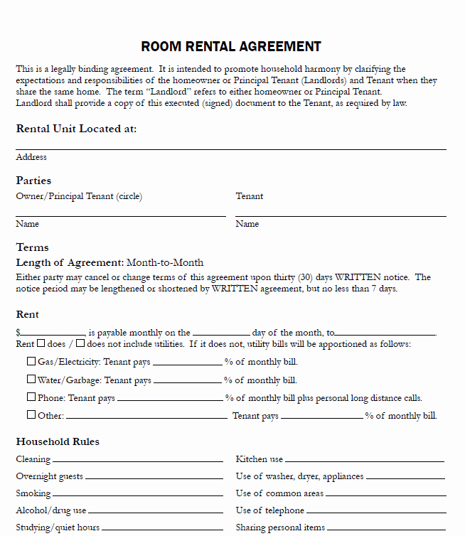 Simple Room Rental Agreement Template Beautiful Room Rental Agreement form