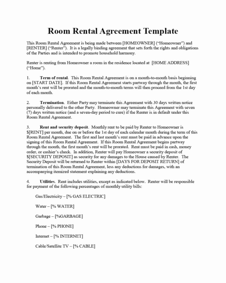 Simple Room Rental Agreement Template Inspirational Rent Agreement format