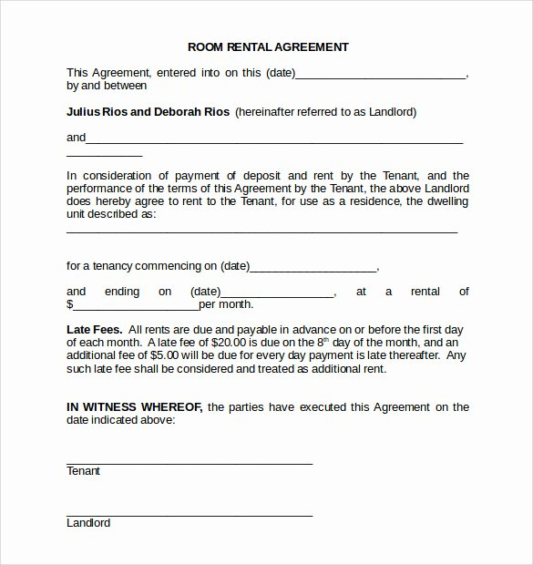 Simple Room Rental Agreement Template New Room Rental Agreement 18 Download Free Documents In Pdf