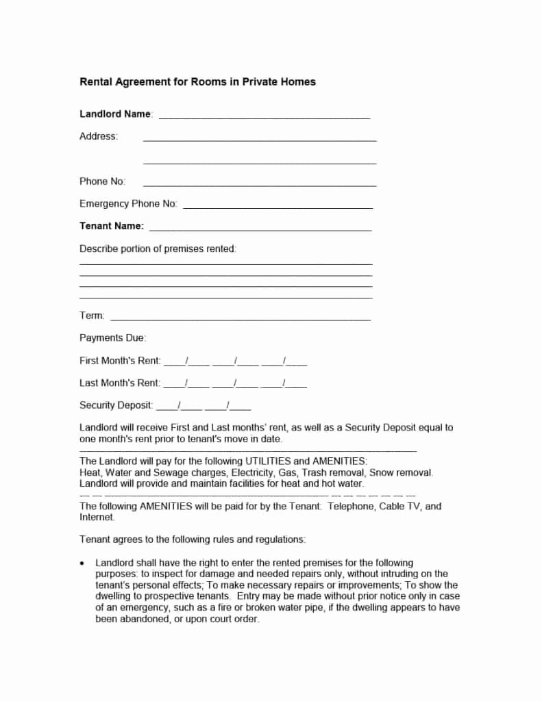 Simple Room Rental Agreement Template Unique 39 Simple Room Rental Agreement Templates Template Archive