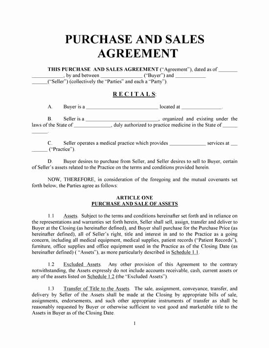 Simple Sales Agreement Template Awesome Purchase and Sales Agreement Basic with Exhibits