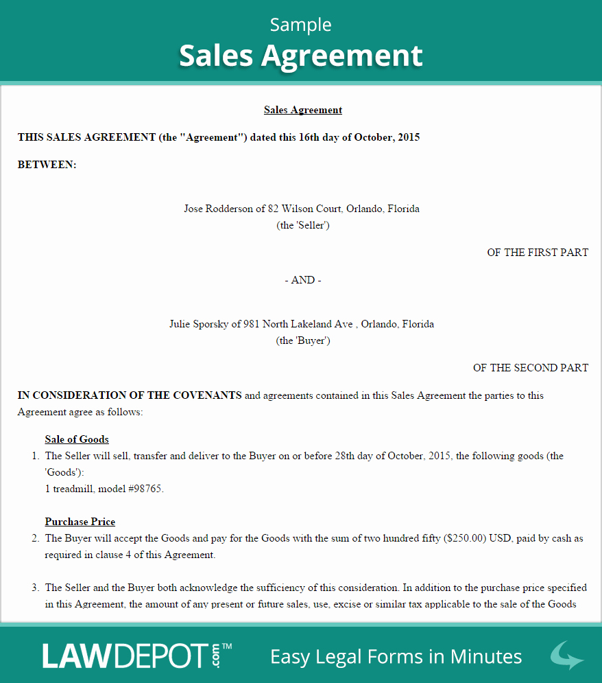 Simple Sales Agreement Template Best Of Simple Sales Agreement