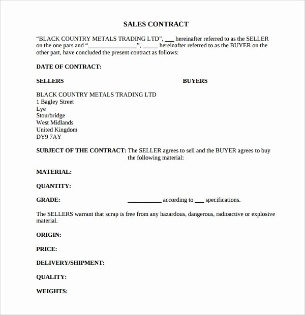 Simple Sales Agreement Template Lovely Sample Sales Contract Template 12 Free Documents