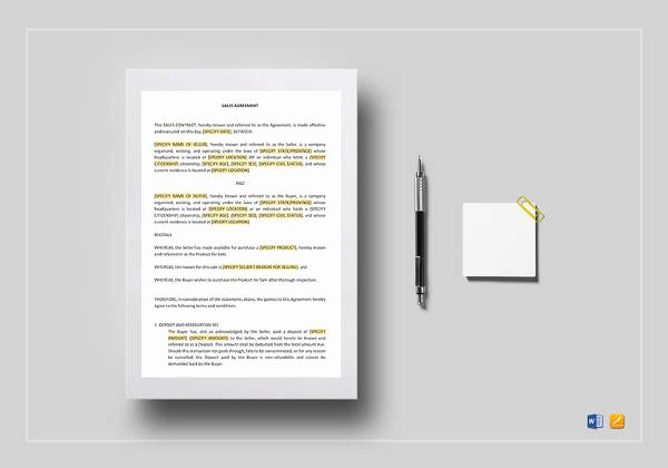 Simple Sales Agreement Template New Free 48 Contract Agreement Templates In Pages