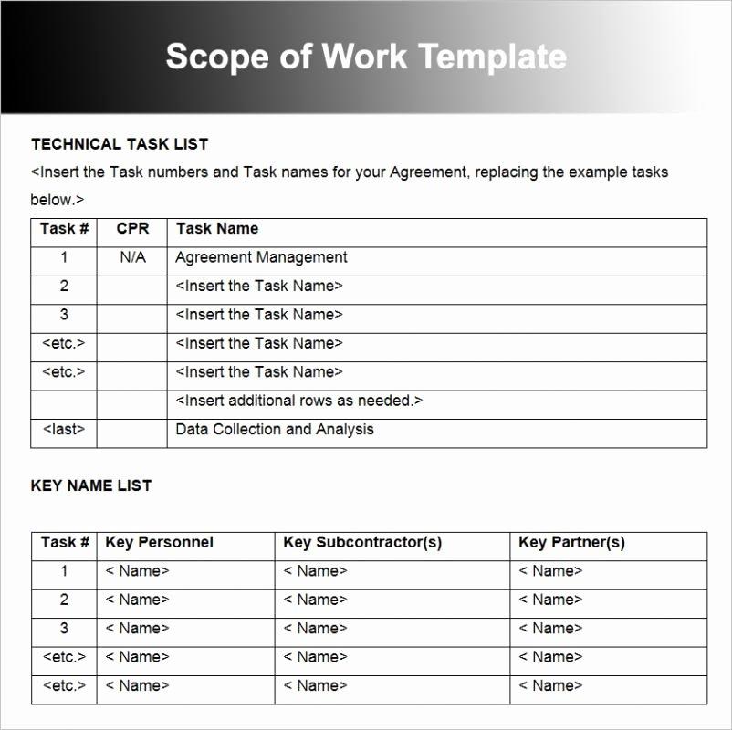 Simple Scope Of Work Template Beautiful Scope Work Template