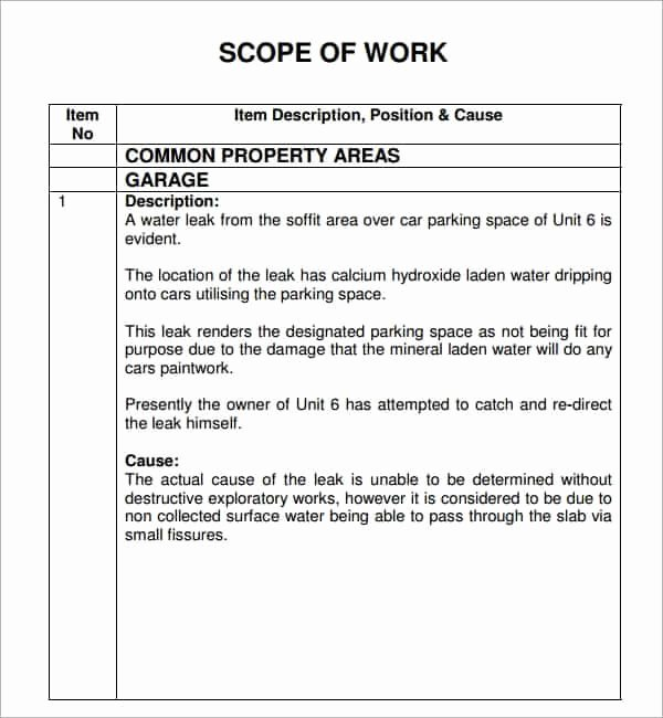 Simple Scope Of Work Template Inspirational 7 Construction Scope Of Work Templates Word Excel Pdf