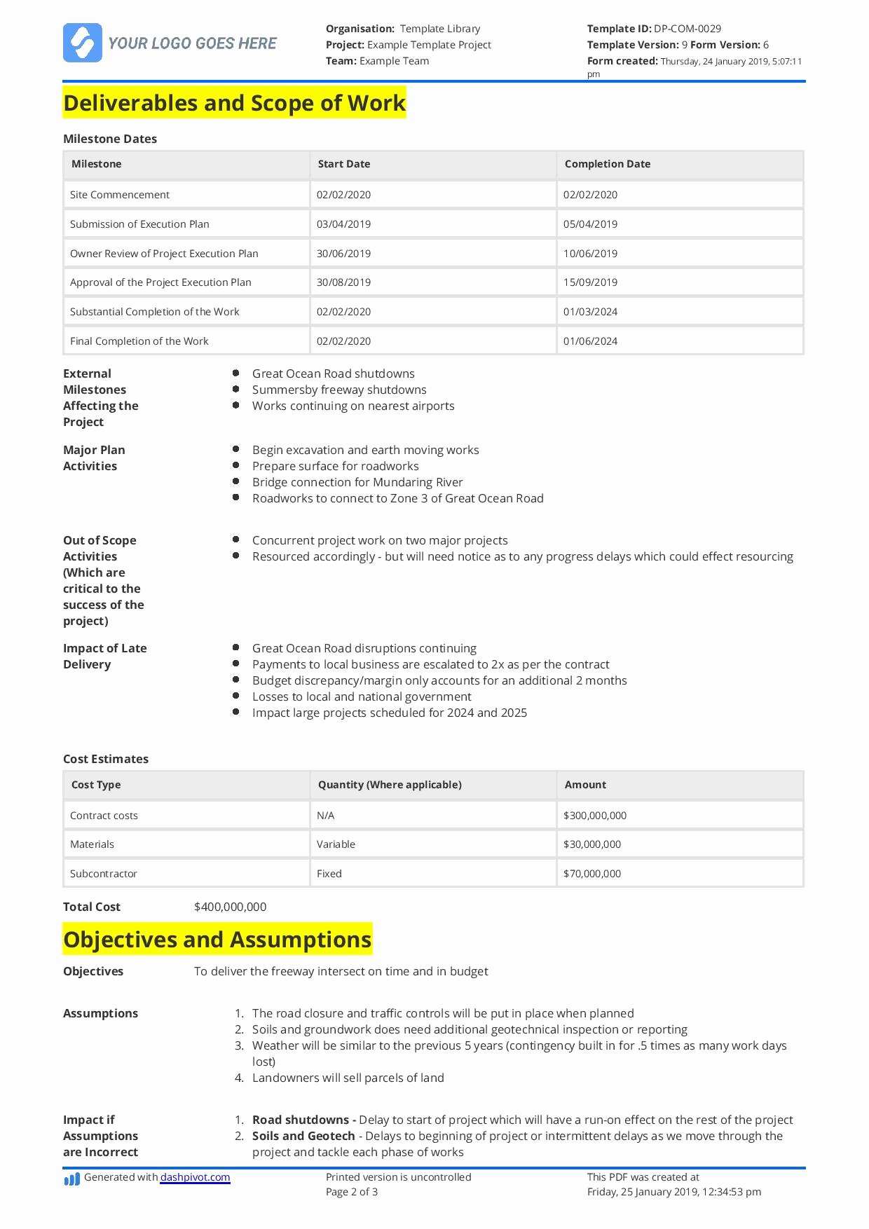 Simple Scope Of Work Template Inspirational Simple Scope Of Work Example You Can Use or Copy for Free