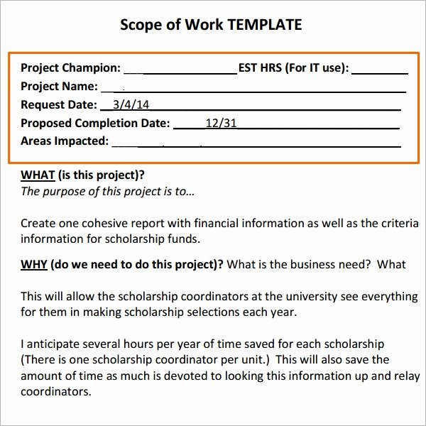 Simple Scope Of Work Template Lovely 29 Of Statement Work Template Construction