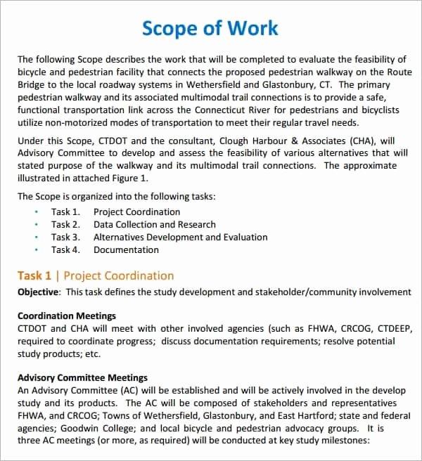 Simple Scope Of Work Template Unique 7 Construction Scope Of Work Templates Word Excel Pdf