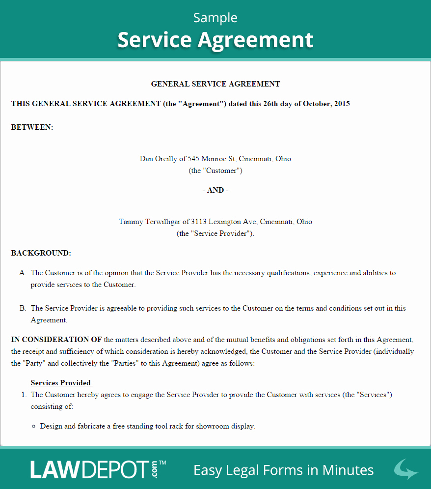 Simple Service Contract Template Best Of Free Service Agreement Create Download and Print