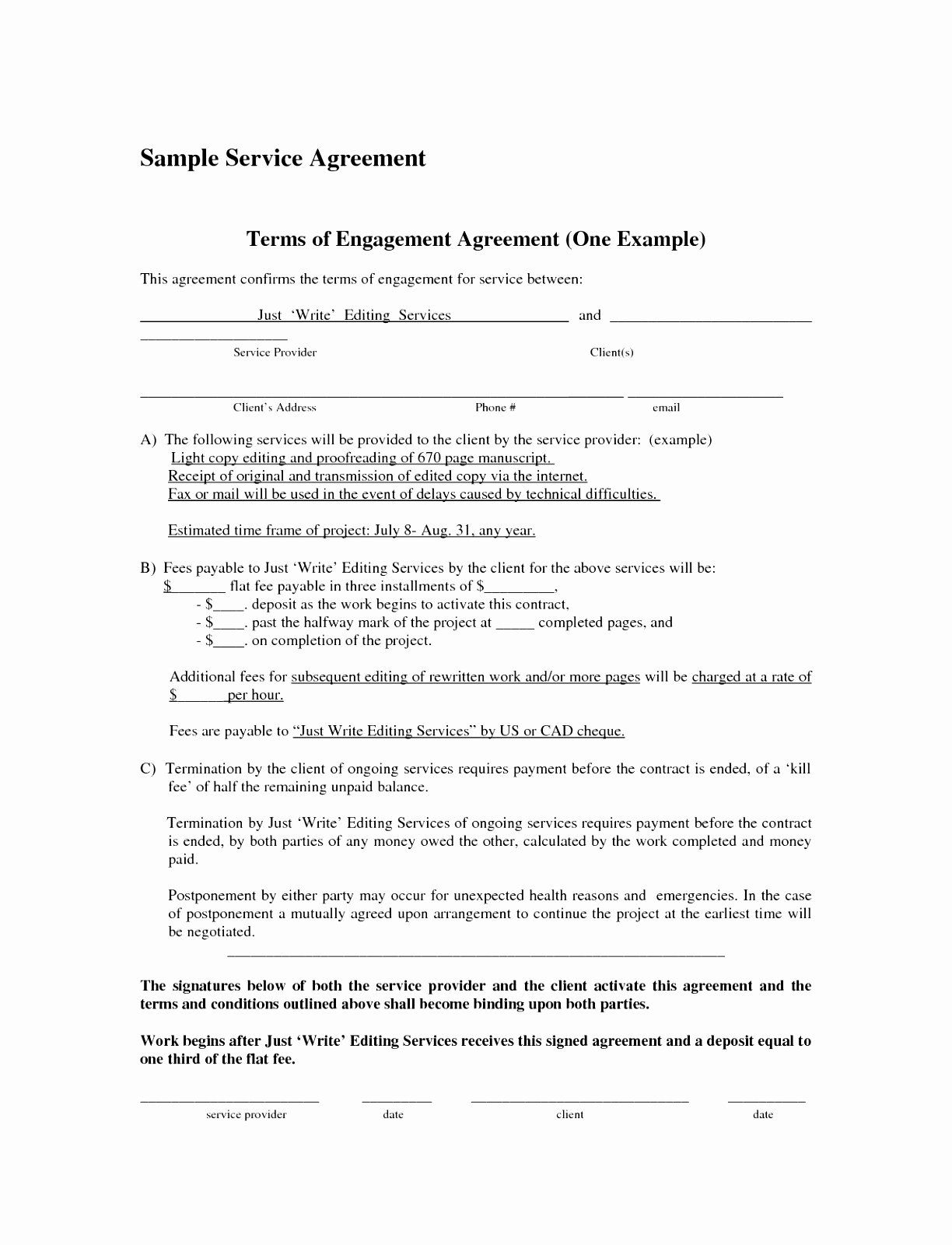Simple Service Contract Template New 6 Simple Contract for Services Template attiu