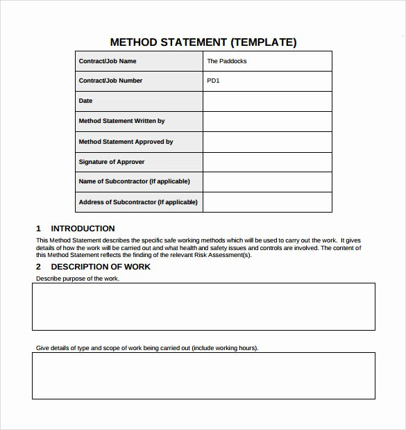 Simple Statement Of Work Template Awesome 9 Method Statement Templates Pdf Word