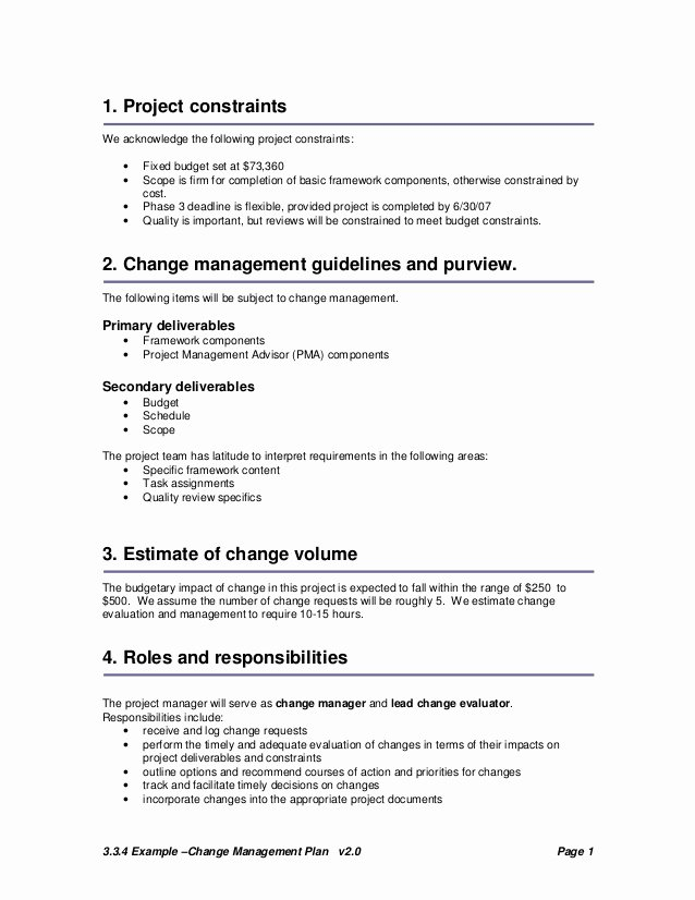 Simple Statement Of Work Template Unique Change Plan Template and Example
