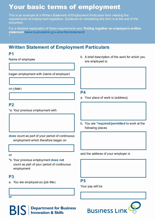 Simple Statement Of Work Template Unique Your Basic Terms Of Employment