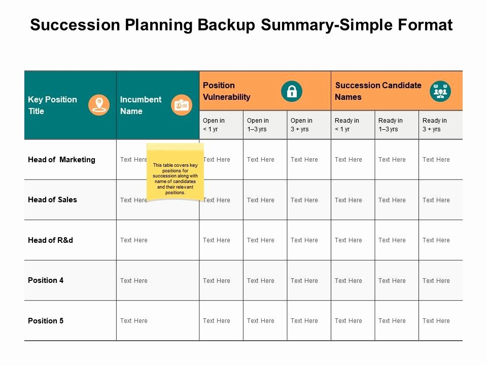 Simple Succession Plan Template Luxury Succession Planning Backup Summary Simple format Ppt
