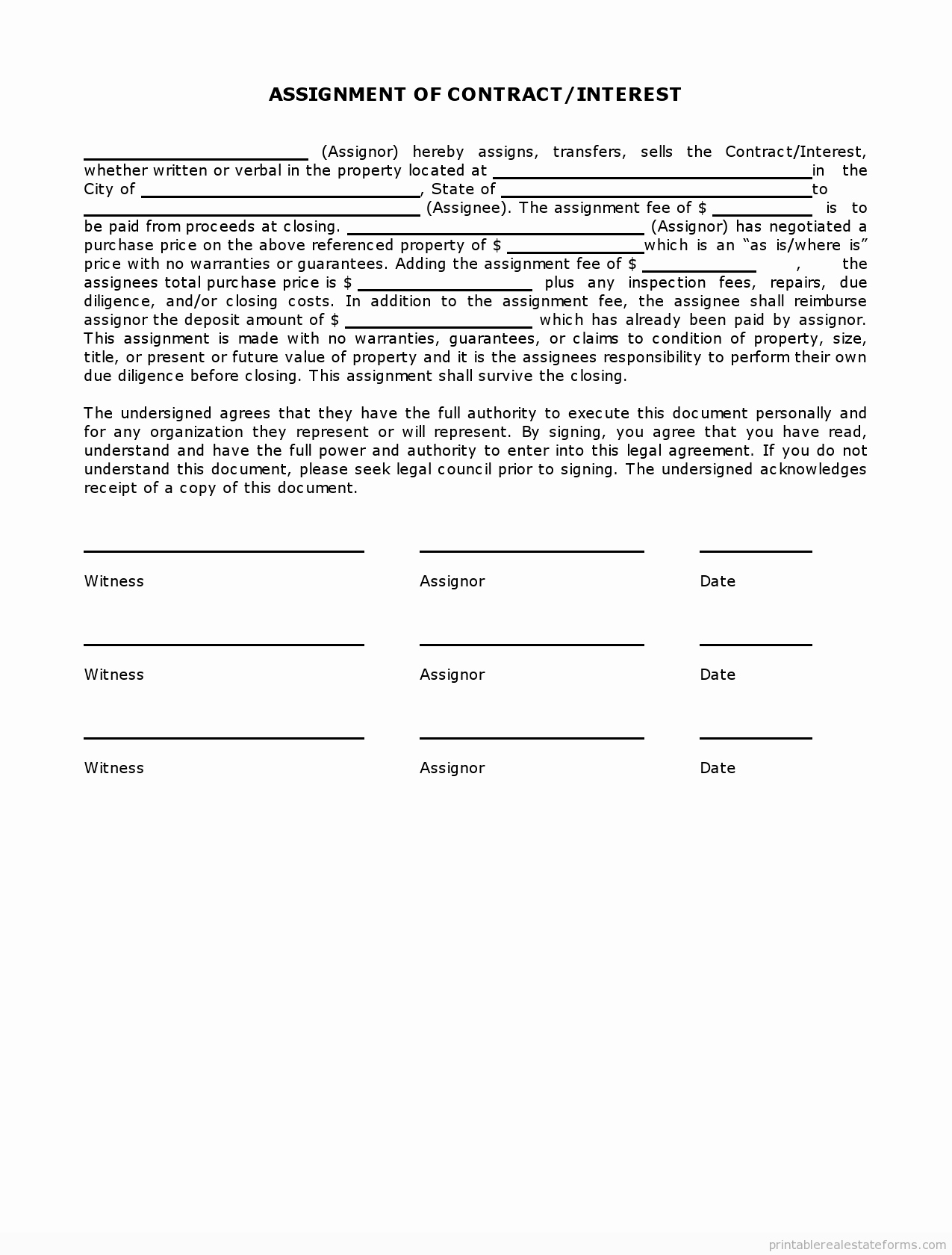 Simple Term Sheet Template Awesome Sample Printable Simple assignment Of Contract Interest