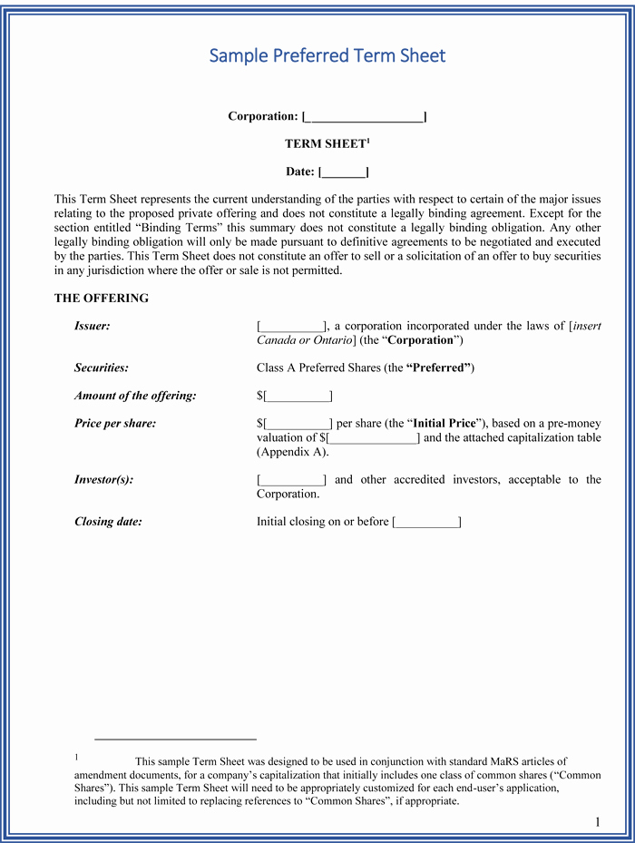 Simple Term Sheet Template Best Of Choose From 9 Term Sheet Templates