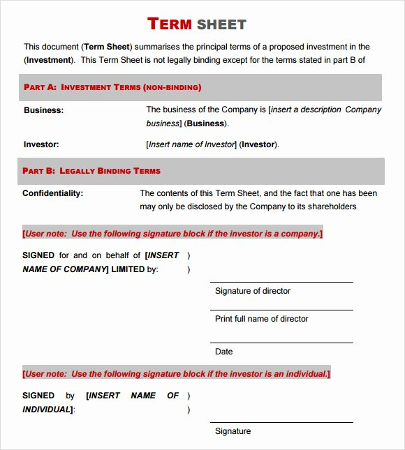 Simple Term Sheet Template Elegant Free 16 Sample Term Sheet Templates In Pdf