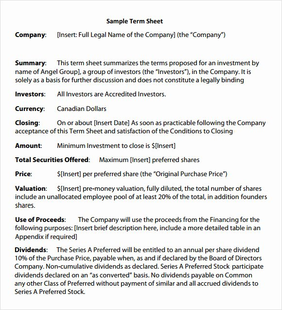 Simple Term Sheet Template Fresh Free 16 Sample Term Sheet Templates In Pdf