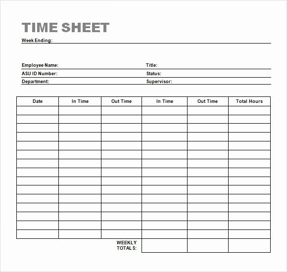 Simple Term Sheet Template Inspirational Weekly Timesheet Template Timesheet