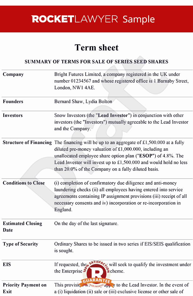 Simple Term Sheet Template New Term Sheet Term Sheet Template Term Sheets
