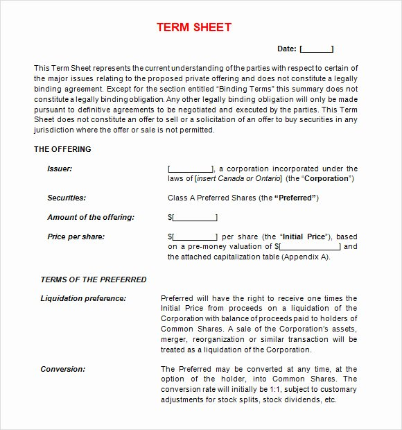 Simple Term Sheet Template Unique Free 16 Sample Term Sheet Templates In Pdf