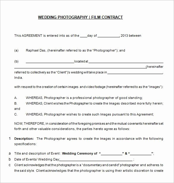 Simple Wedding Photography Contract Template Awesome 20 Graphy Contract Template