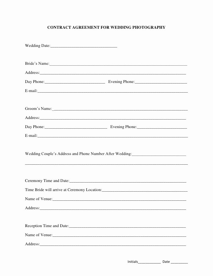 Simple Wedding Photography Contract Template Awesome Free Printable Wedding Graphy Contract Template form