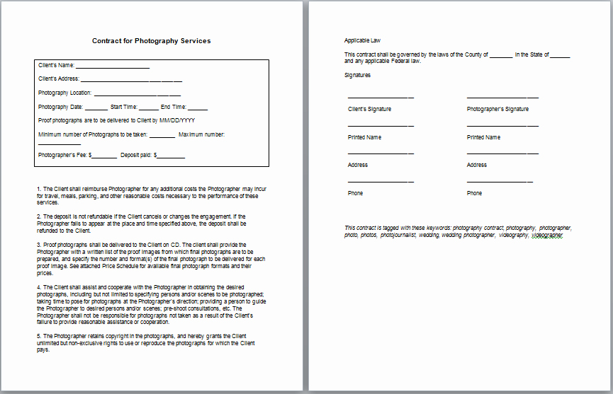 Simple Wedding Photography Contract Template Awesome Graphy Contract Template
