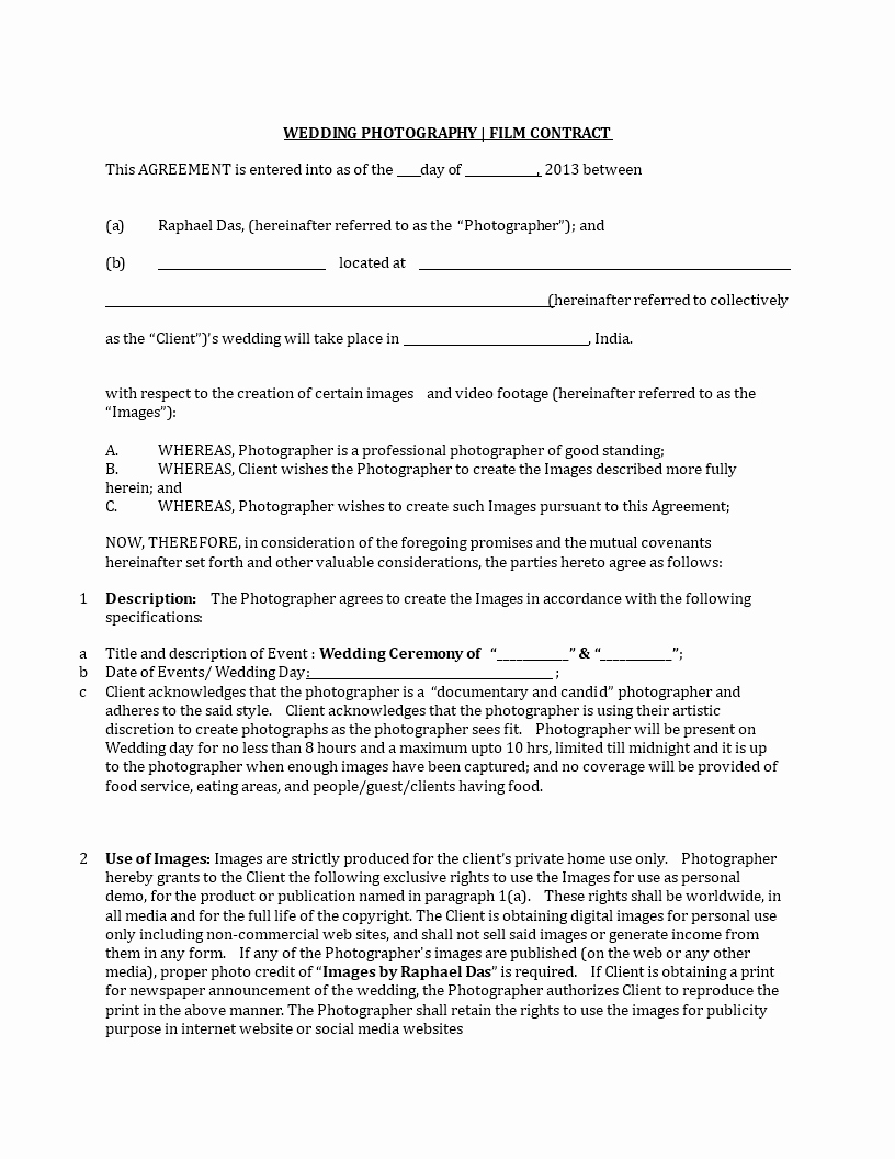 Simple Wedding Photography Contract Template Awesome Wedding Graphy Contract