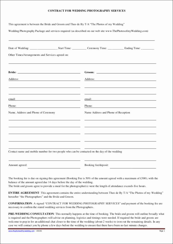 Simple Wedding Photography Contract Template Beautiful 23 Graphy Contract Templates and Samples In Pdf