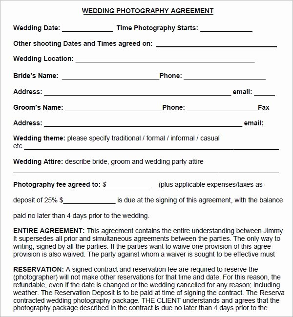 Simple Wedding Photography Contract Template Beautiful Simple Graphy Contract Template