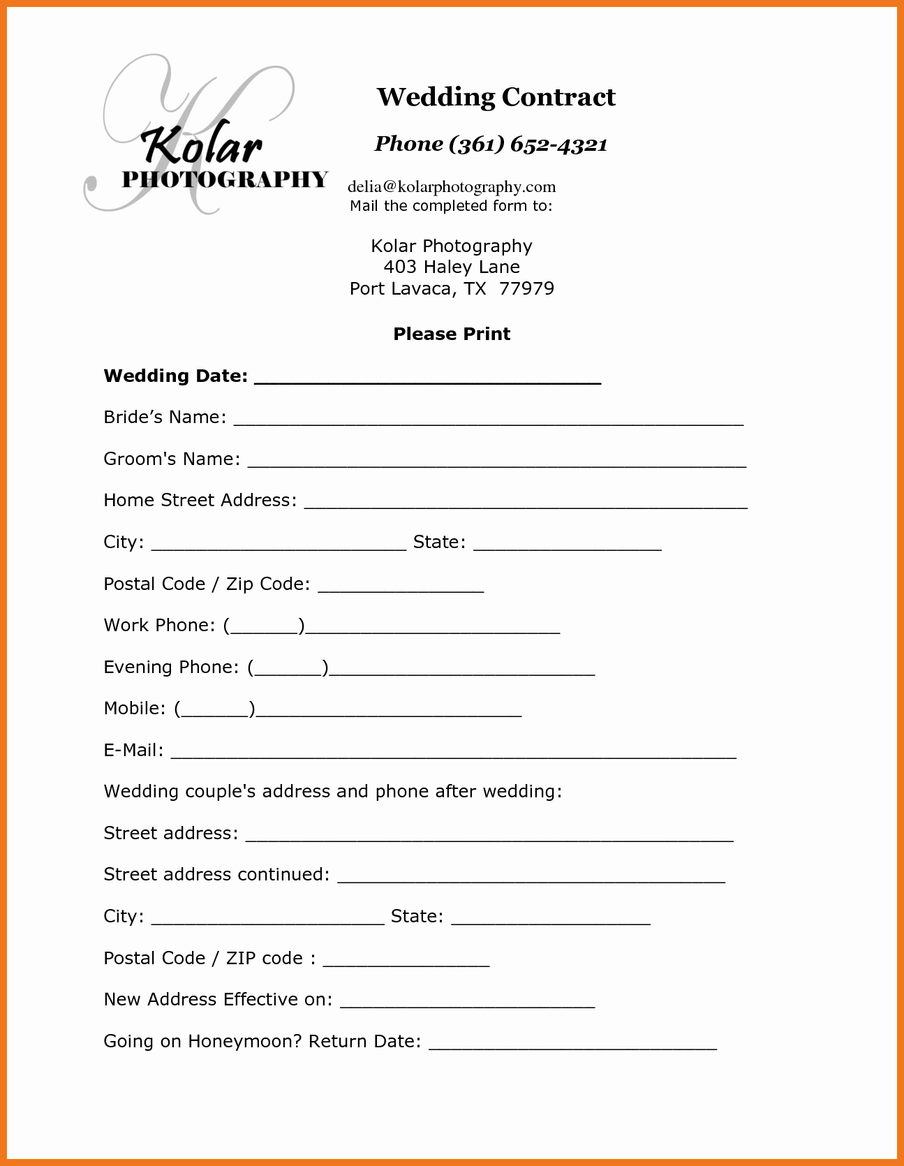 Simple Wedding Photography Contract Template Best Of 1 2 Wedding Contract Template