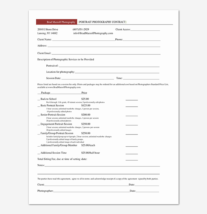Simple Wedding Photography Contract Template Elegant Graphy Contract Template 40 Free In Word Pdf