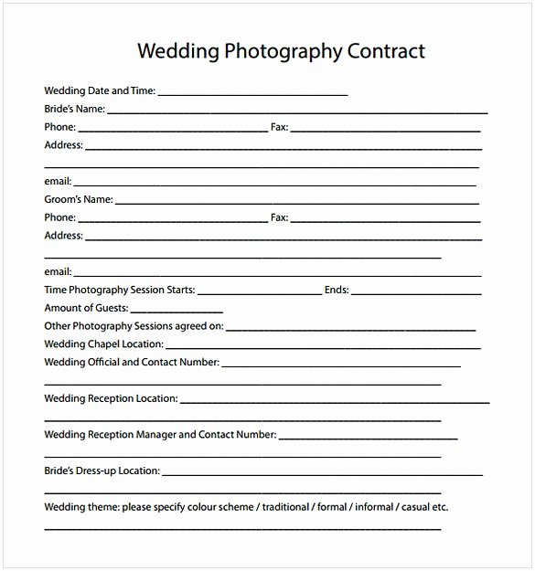 Simple Wedding Photography Contract Template Elegant Wedding Photography Contract Pdf