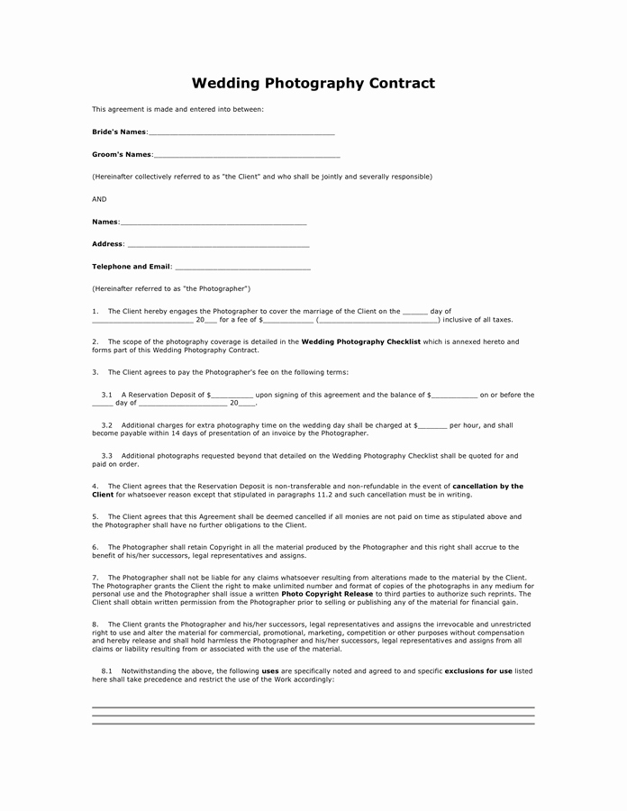 Simple Wedding Photography Contract Template Fresh Wedding Graphy Contract In Word and Pdf formats