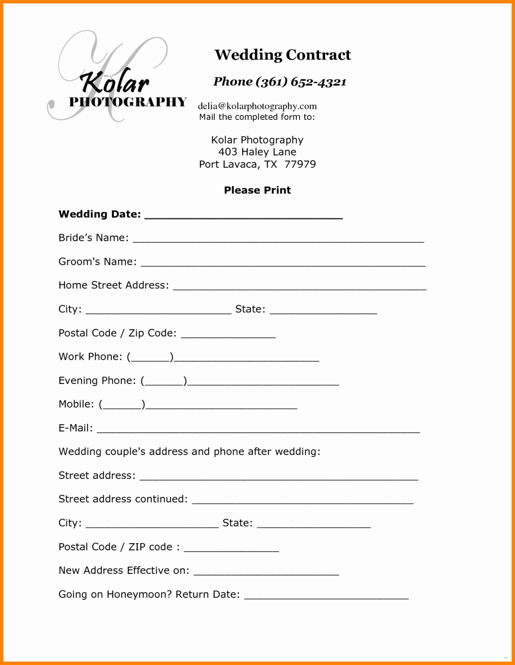 Simple Wedding Photography Contract Template Inspirational 12 Simple Photography Contract