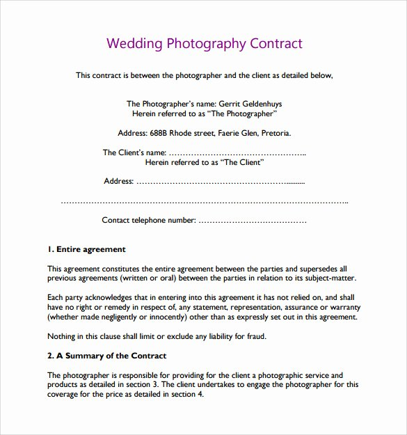 Simple Wedding Photography Contract Template Lovely 14 Wedding Graphy Contract Template 14 Download