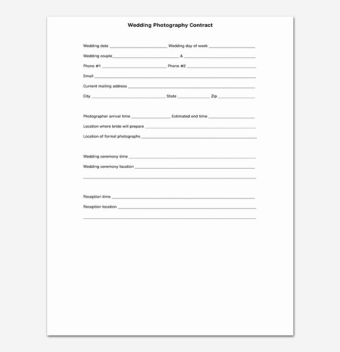 Simple Wedding Photography Contract Template Lovely Graphy Contract Template 40 Free In Word Pdf