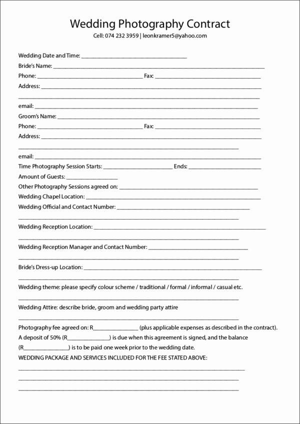 Simple Wedding Photography Contract Template Luxury 23 Graphy Contract Templates and Samples In Pdf